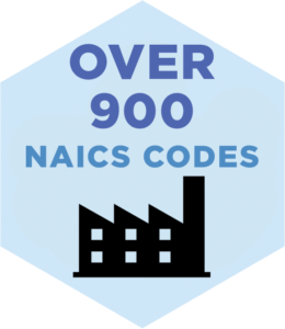 DISCCORP database sets cover over 900 NAICS codes